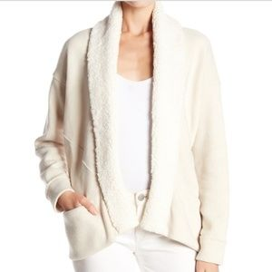 Splendid knit cardigan with faux fur collar